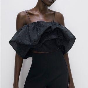 Zara voluminous crop top puffy sleeve black NWT